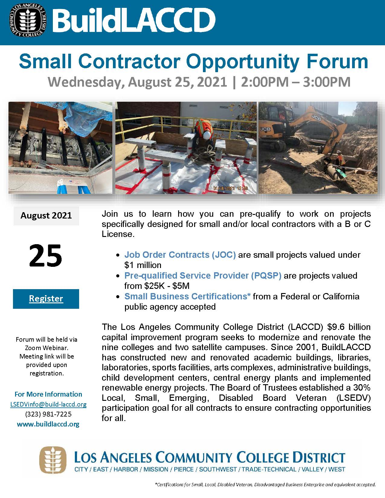 LACCD Small Contractor Opportunity Forum (JOC Event) Flyer_