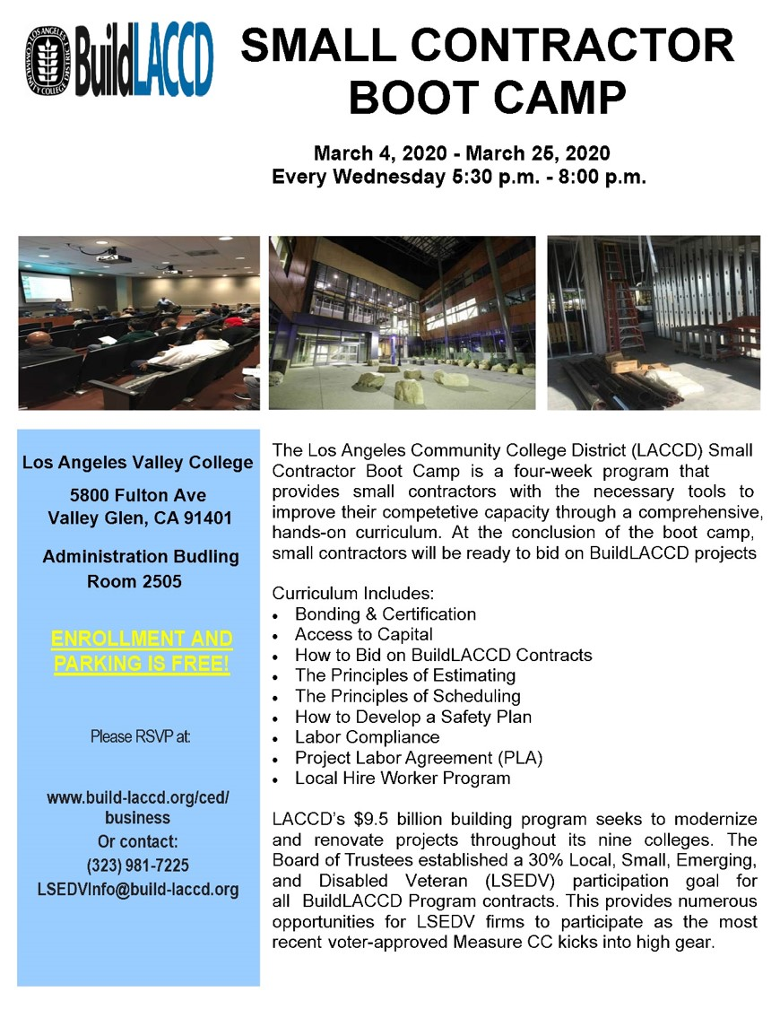 Small Contractor Boot Camp Flyer - Spring 2020