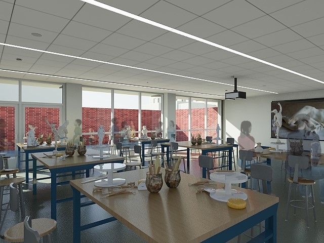 A design rendering of a classroom within the refurbished Da Vinci Hall